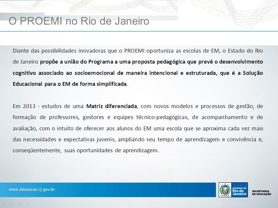 O PROEMI no Rio de Janeiro Diante das possibilidades inovadoras que o PROEMI oportuniza as escolas de EM, o Estado do Rio de Janeiro propõe a união do