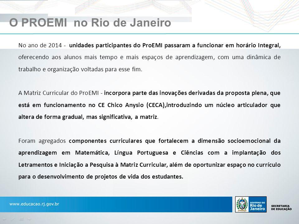 O PROEMI no Rio de Janeiro No ano de 2014 - unidades participantes do ProEMI passaram a funcionar em horário Integral, oferecendo aos alunos mais temp