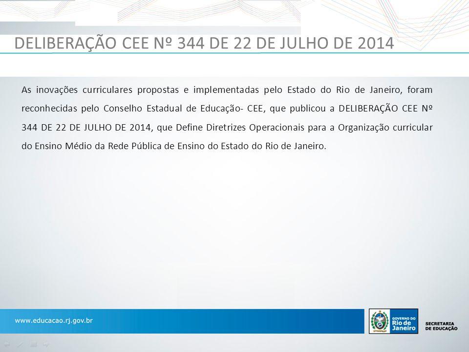 DELIBERAÇÃO CEE Nº 344 DE 22 DE JULHO DE 2014 As inovações curriculares propostas e implementadas pelo Estado do Rio de Janeiro, foram reconhecidas pe