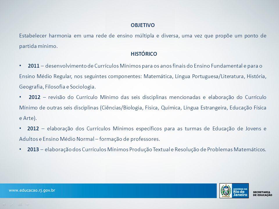 FORMAÇÃO CONTINUADA Iniciado em 2012, a SEEDUC e a Fundação CECIERJ, apoiadas pelas universidades do Consórcio CEDERJ, prepararam cursos que capacitam o professor para uso do Currículo Mínimo.