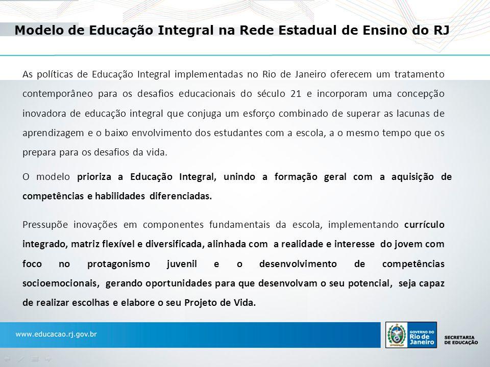 Modelo de Educação Integral na Rede Estadual de Ensino do RJ O modelo prioriza a Educação Integral, unindo a formação geral com a aquisição de competê