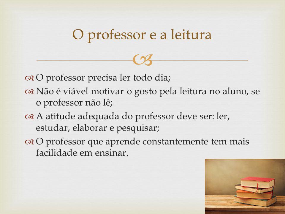   O professor precisa ler todo dia;  Não é viável motivar o gosto pela leitura no aluno, se o professor não lê;  A atitude adequada do professor d