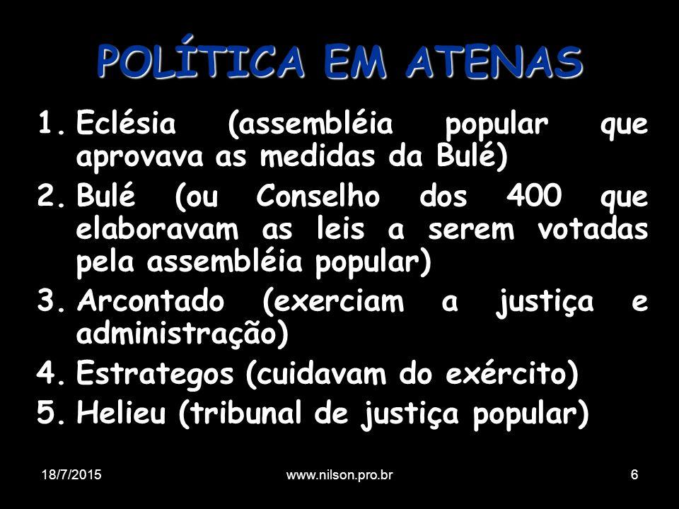 1.Eclésia (assembléia popular que aprovava as medidas da Bulé) 2.Bulé (ou Conselho dos 400 que elaboravam as leis a serem votadas pela assembléia popu