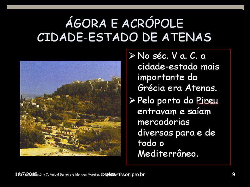 DEMOCRACIA ATENIENSE A democracia ateniense era formada com a participação de cidadãos atenienses (adultos, filhos de pai e mãe ateniense) que correspondiam a uma minoria, pois eram excluídos os estrangeiros, escravos e mulheres.