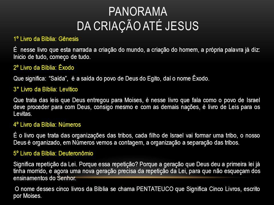 PANORAMA DA CRIAÇÃO ATÉ JESUS 1º Livro da Bíblia: Gênesis É nesse livro que esta narrada a criação do mundo, a criação do homem, a própria palavra já