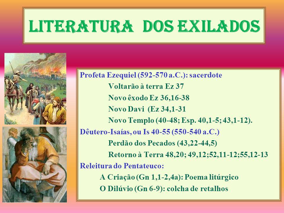 Literatura dos exilados Profeta Ezequiel (592-570 a.C.): sacerdote Voltarão à terra Ez 37 Novo êxodo Ez 36,16-38 Novo Davi (Ez 34,1-31 Novo Templo (40