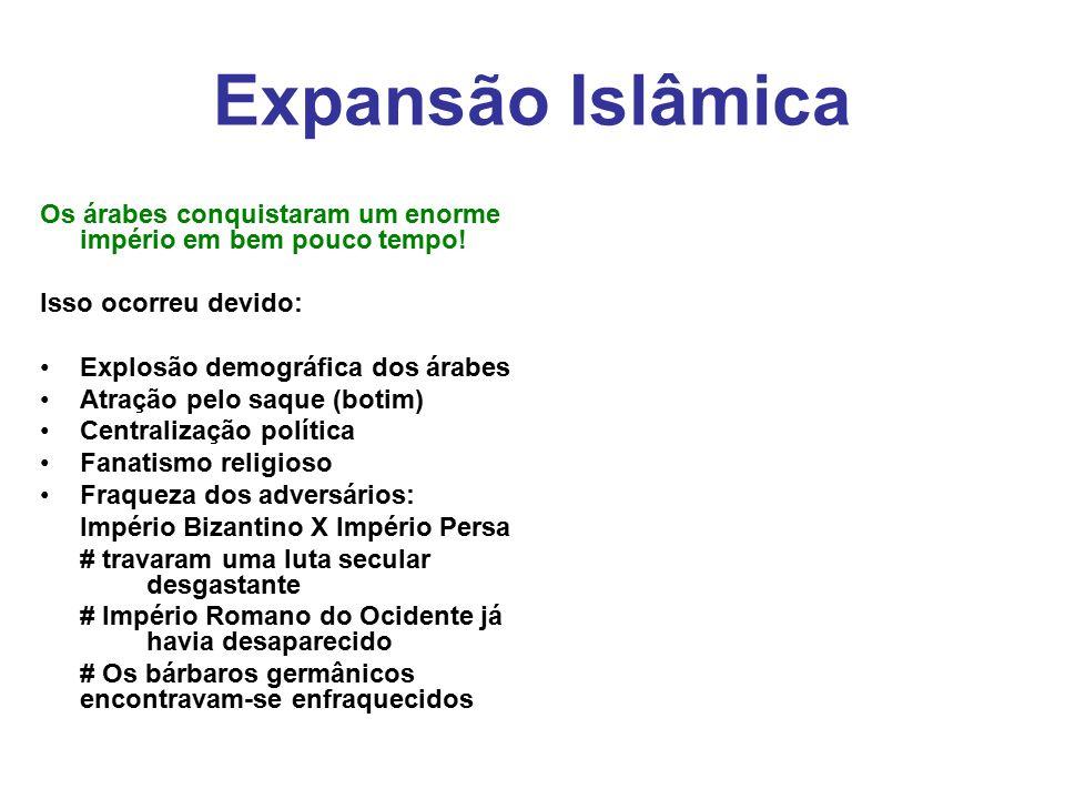 Expansão Islâmica Os árabes conquistaram um enorme império em bem pouco tempo! Isso ocorreu devido: Explosão demográfica dos árabes Atração pelo saque