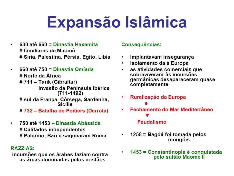 Expansão Islâmica 630 até 660 = Dinastia Haxemita # familiares de Maomé # Síria, Palestina, Pérsia, Egito, Líbia 660 até 750 = Dinastia Omíada # Norte