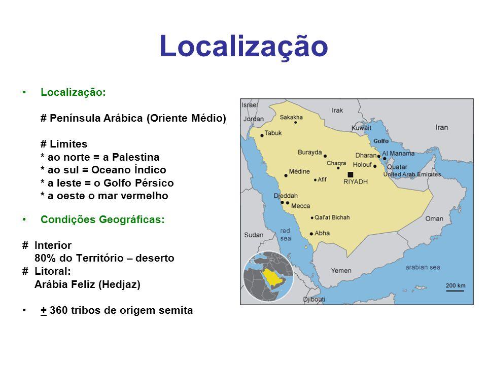 Localização Localização: # Península Arábica (Oriente Médio) # Limites * ao norte = a Palestina * ao sul = Oceano Índico * a leste = o Golfo Pérsico *