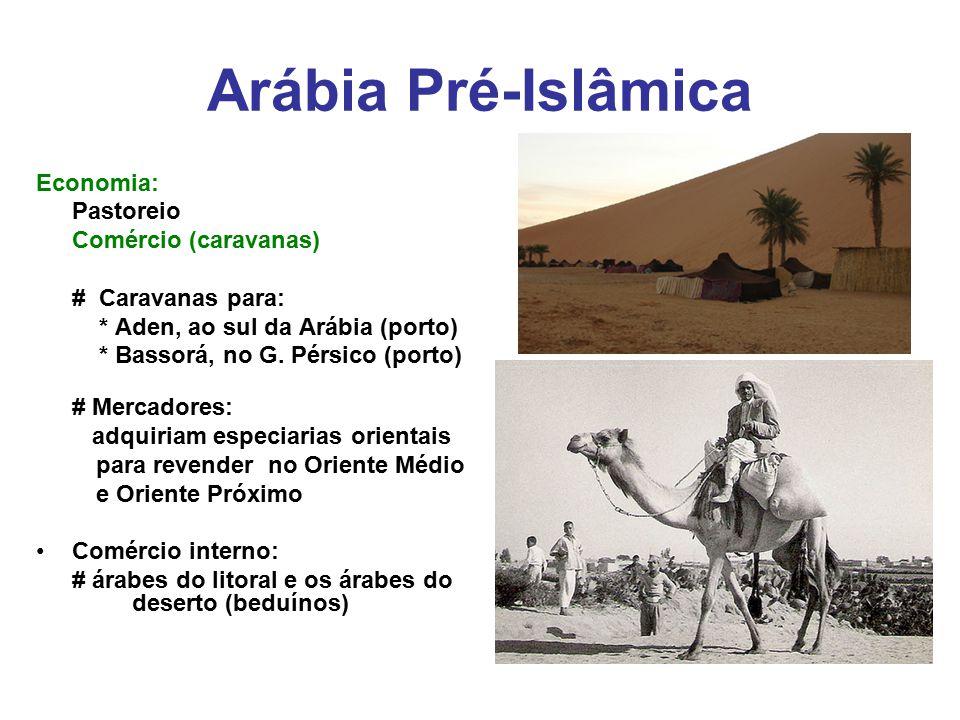 Arábia Pré-Islâmica Economia: Pastoreio Comércio (caravanas) # Caravanas para: * Aden, ao sul da Arábia (porto) * Bassorá, no G. Pérsico (porto) # Mer