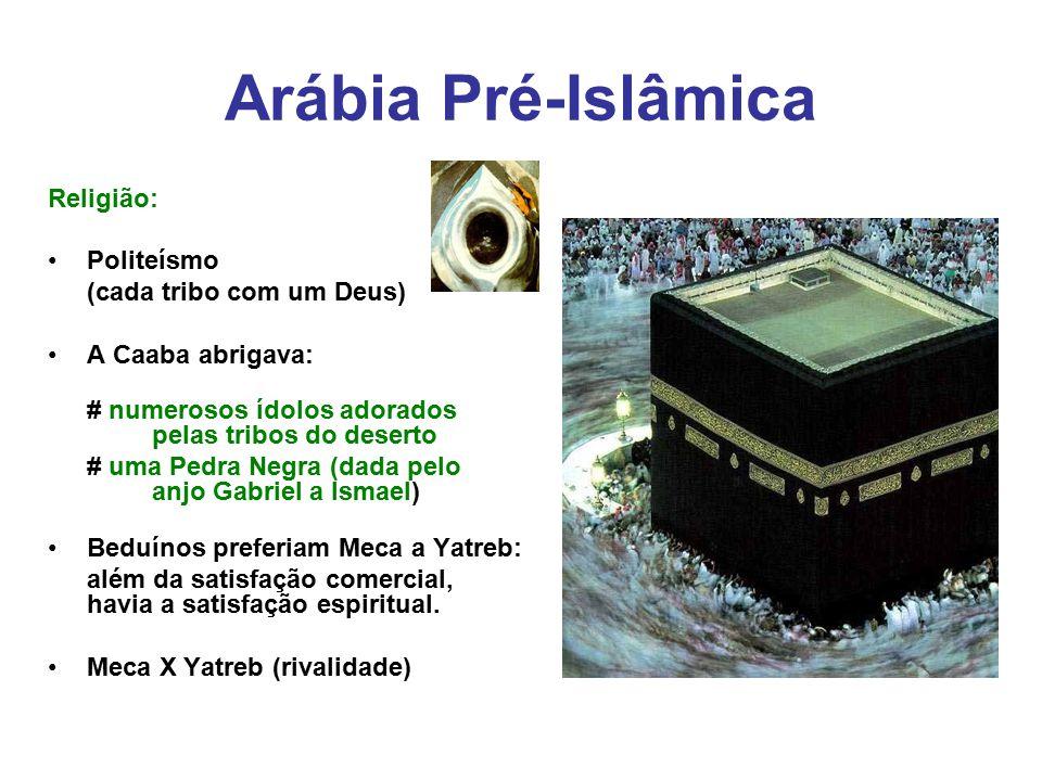 Arábia Pré-Islâmica Religião: Politeísmo (cada tribo com um Deus) A Caaba abrigava: # numerosos ídolos adorados pelas tribos do deserto # uma Pedra Ne
