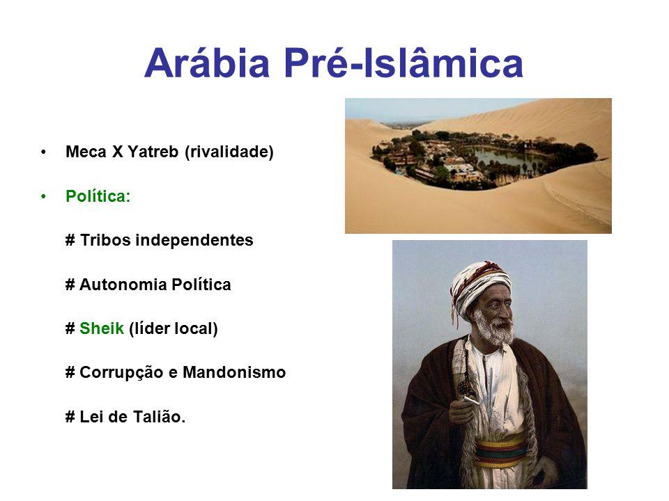 Arábia Pré-Islâmica Meca X Yatreb (rivalidade) Política: # Tribos independentes # Autonomia Política # Sheik (líder local) # Corrupção e Mandonismo #