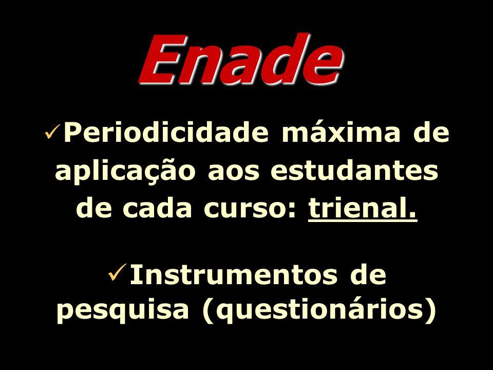 Enade Periodicidade máxima de aplicação aos estudantes de cada curso: trienal.