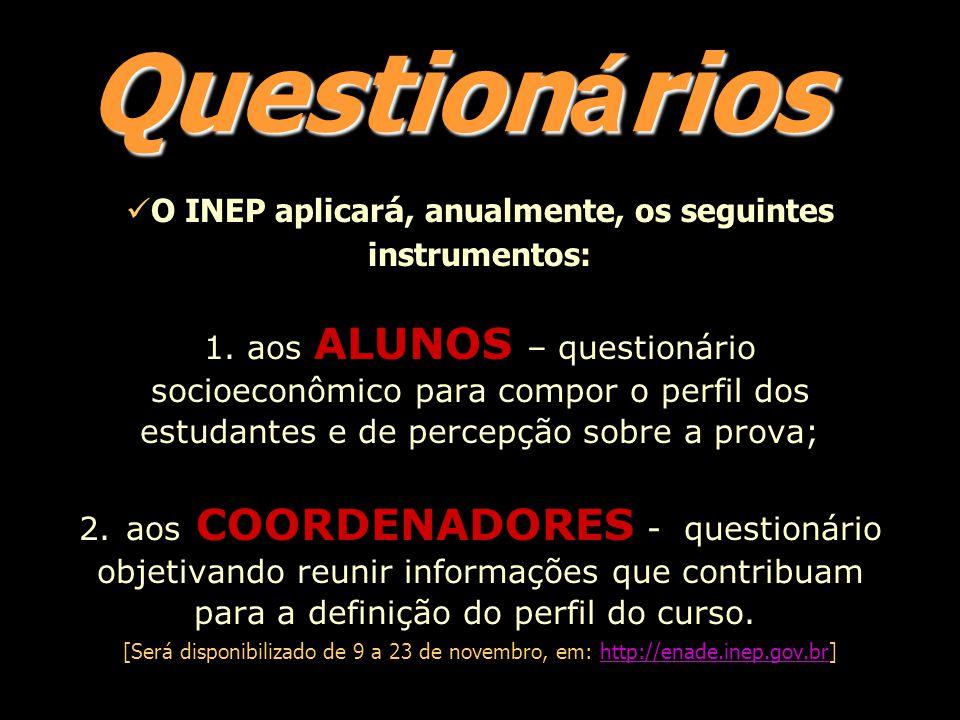 Question á rios O INEP aplicar á, anualmente, os seguintes instrumentos: 1.