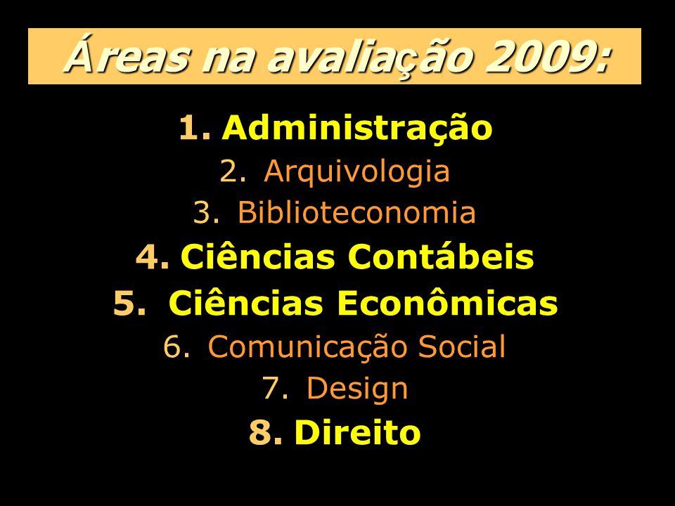 Á reas na avalia ç ão 2009: 1.Administração 2.Arquivologia 3.Biblioteconomia 4.Ciências Contábeis 5.
