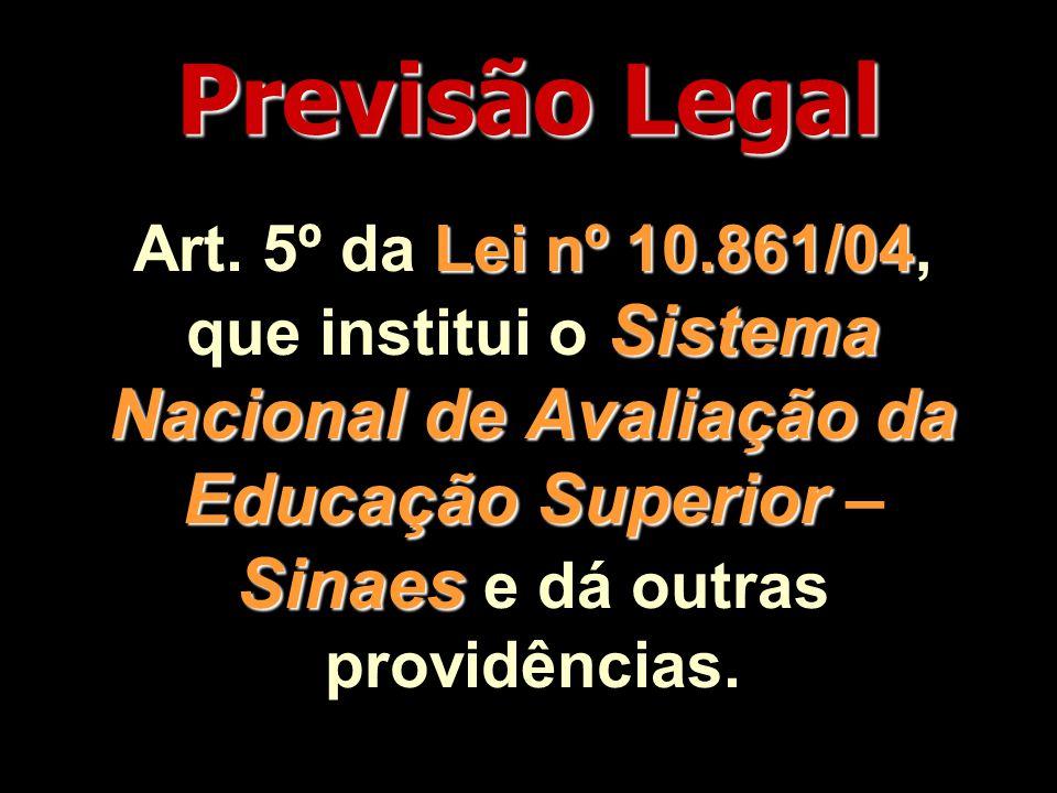 Previsão Legal Lei nº 10.861/04 Sistema Nacional de Avaliação da Educação Superior Sinaes Art.