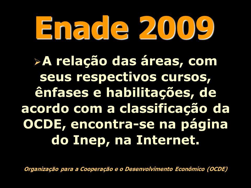 Enade 2009  A relação das áreas, com seus respectivos cursos, ênfases e habilitações, de acordo com a classificação da OCDE, encontra-se na página do Inep, na Internet.