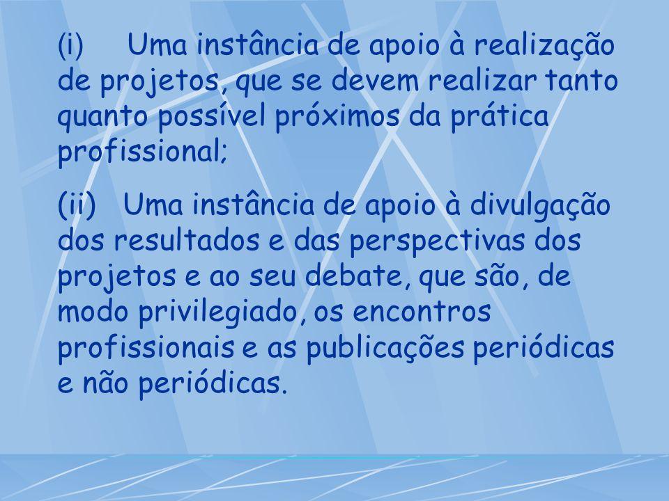 (i) Uma instância de apoio à realização de projetos, que se devem realizar tanto quanto possível próximos da prática profissional; (ii) Uma instância