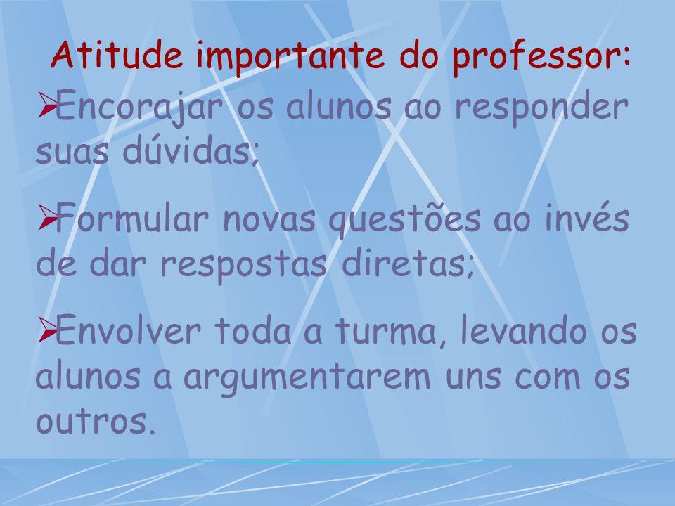 Atitude importante do professor:  Encorajar os alunos ao responder suas dúvidas;  Formular novas questões ao invés de dar respostas diretas;  Envolver toda a turma, levando os alunos a argumentarem uns com os outros.