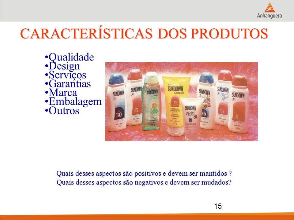 Qualidade Design Serviços Garantias Marca Embalagem Outros CARACTERÍSTICAS DOS PRODUTOS Quais desses aspectos são positivos e devem ser mantidos ? Qua
