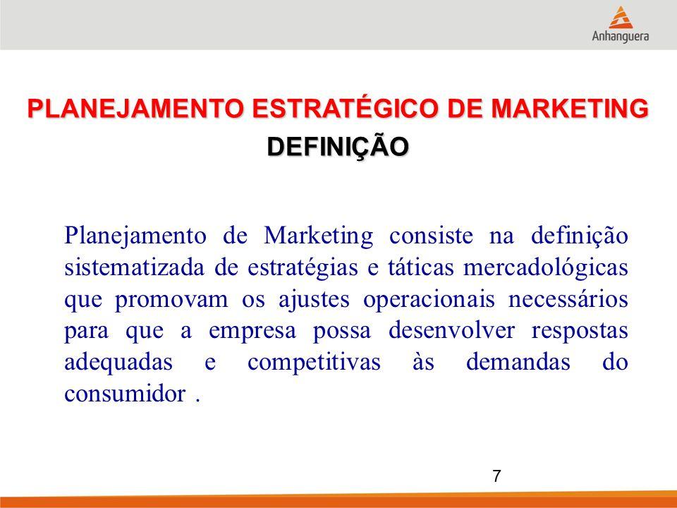 Planejamento de Marketing consiste na definição sistematizada de estratégias e táticas mercadológicas que promovam os ajustes operacionais necessários