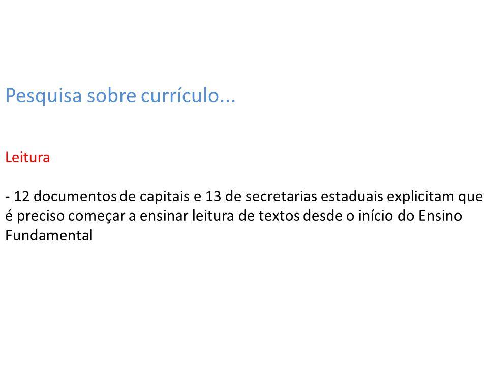 Pesquisa sobre currículo... Leitura - 12 documentos de capitais e 13 de secretarias estaduais explicitam que é preciso começar a ensinar leitura de te