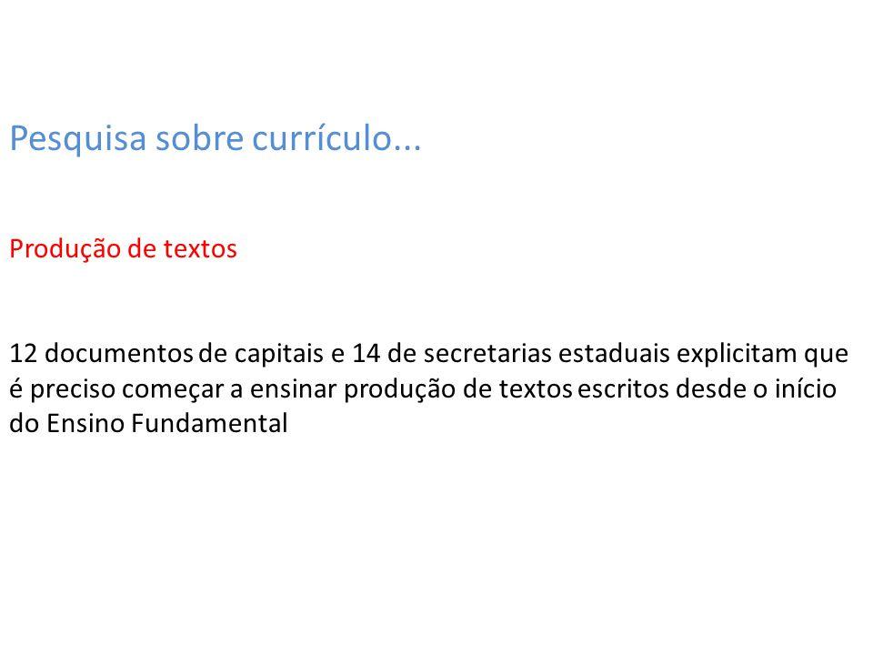 Pesquisa sobre currículo... Produção de textos 12 documentos de capitais e 14 de secretarias estaduais explicitam que é preciso começar a ensinar prod