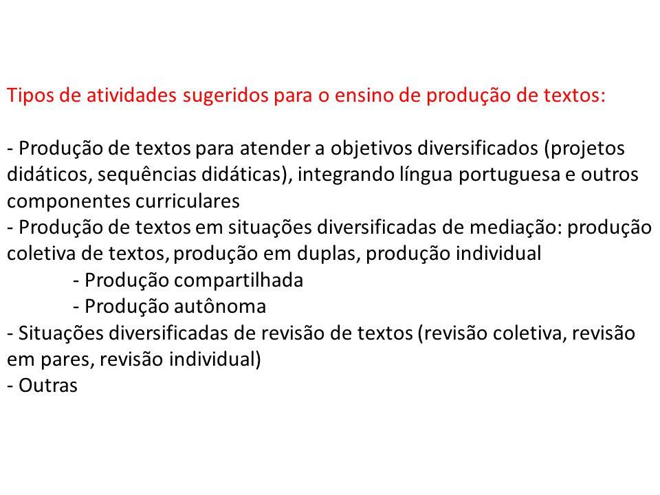 Tipos de atividades sugeridos para o ensino de produção de textos: - Produção de textos para atender a objetivos diversificados (projetos didáticos, s