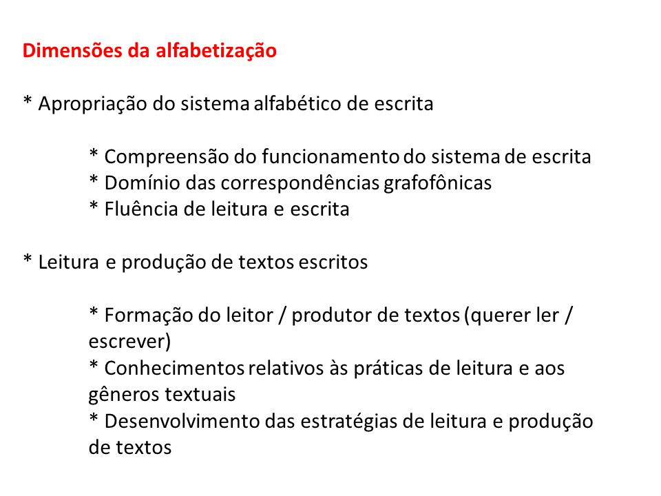 Dimensões da alfabetização * Apropriação do sistema alfabético de escrita * Compreensão do funcionamento do sistema de escrita * Domínio das correspon