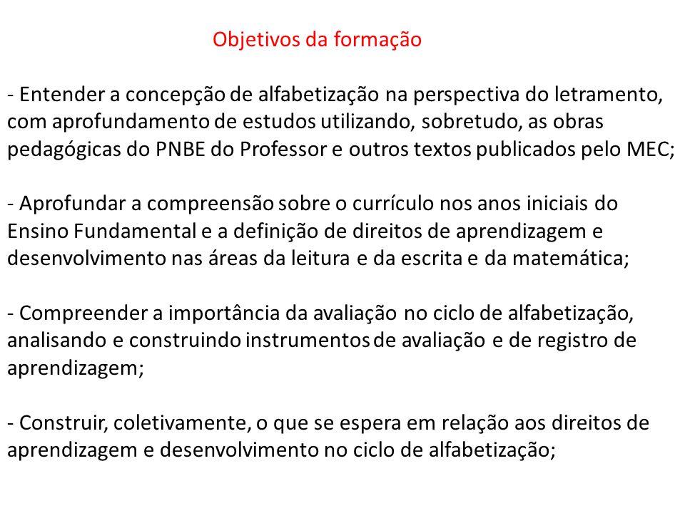 Objetivos da formação - Entender a concepção de alfabetização na perspectiva do letramento, com aprofundamento de estudos utilizando, sobretudo, as ob