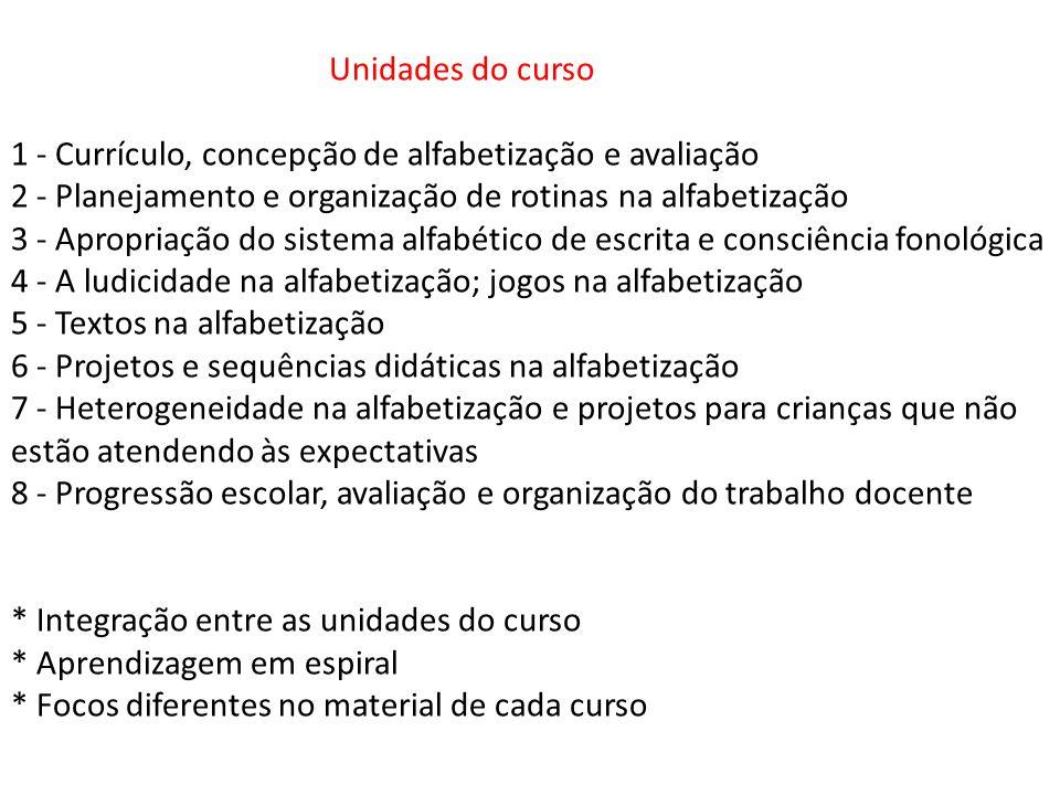 Unidades do curso 1 - Currículo, concepção de alfabetização e avaliação 2 - Planejamento e organização de rotinas na alfabetização 3 - Apropriação do