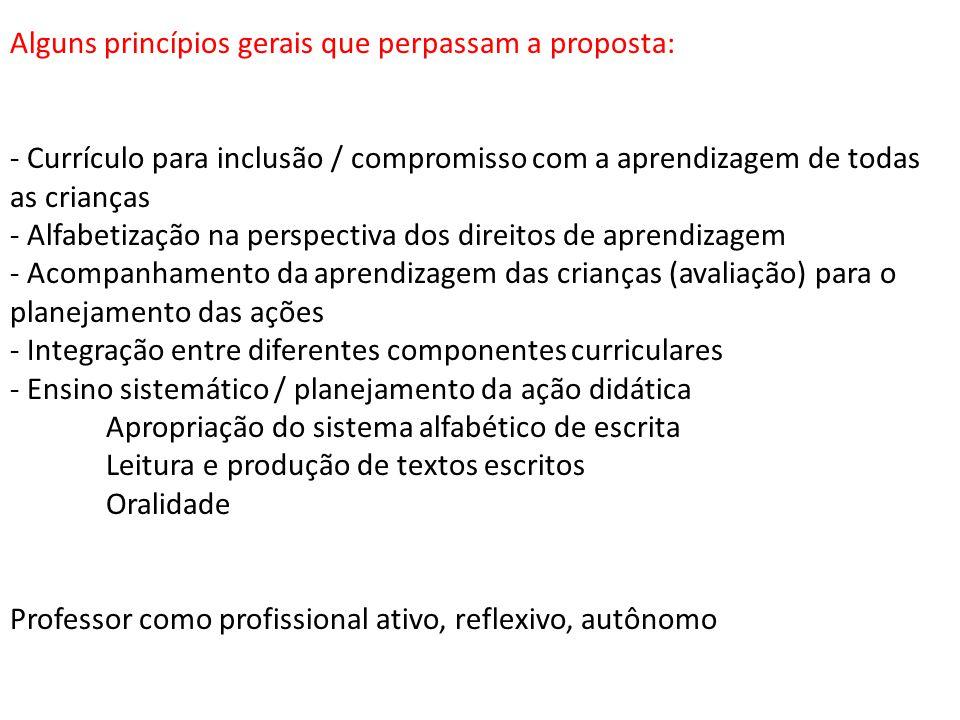 Alguns princípios gerais que perpassam a proposta: - Currículo para inclusão / compromisso com a aprendizagem de todas as crianças - Alfabetização na
