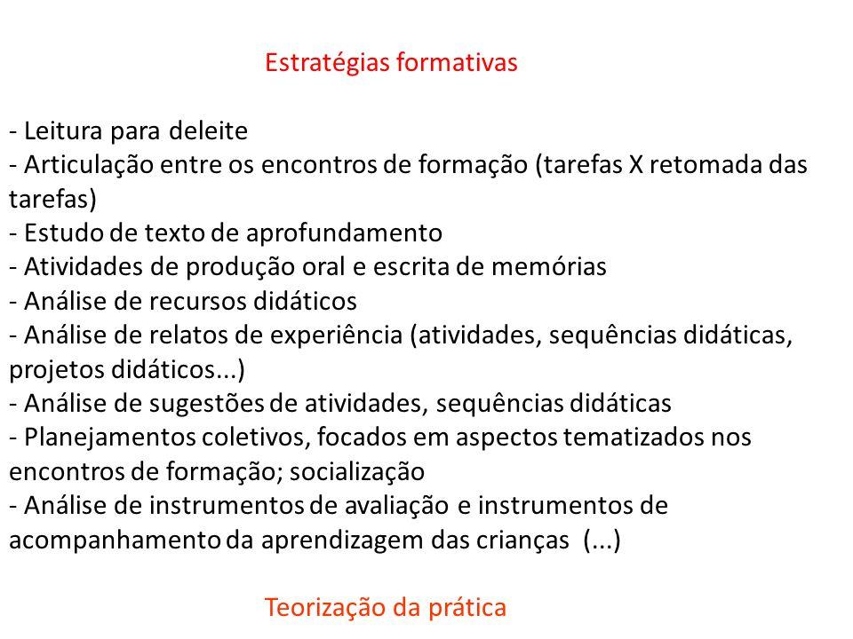 Estratégias formativas - Leitura para deleite - Articulação entre os encontros de formação (tarefas X retomada das tarefas) - Estudo de texto de aprof