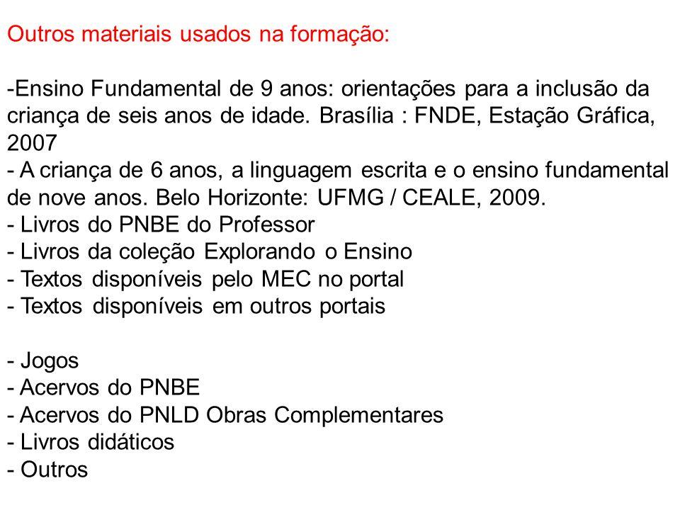 Outros materiais usados na formação: -Ensino Fundamental de 9 anos: orientações para a inclusão da criança de seis anos de idade. Brasília : FNDE, Est