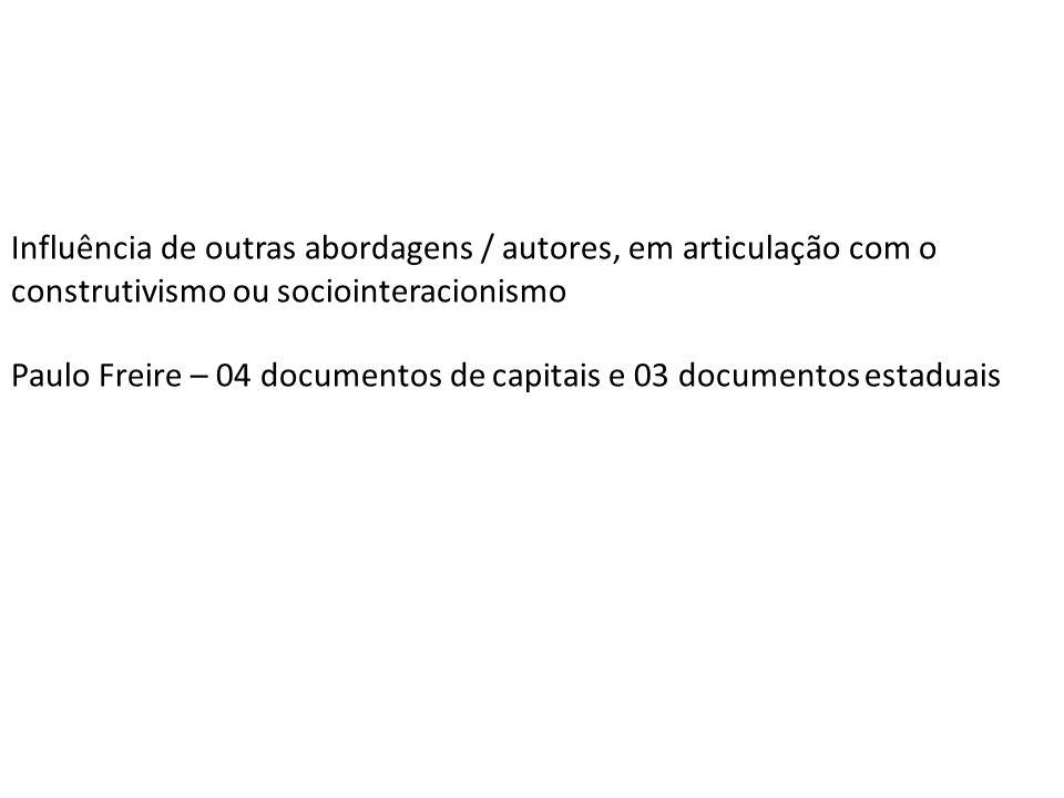 Influência de outras abordagens / autores, em articulação com o construtivismo ou sociointeracionismo Paulo Freire – 04 documentos de capitais e 03 do