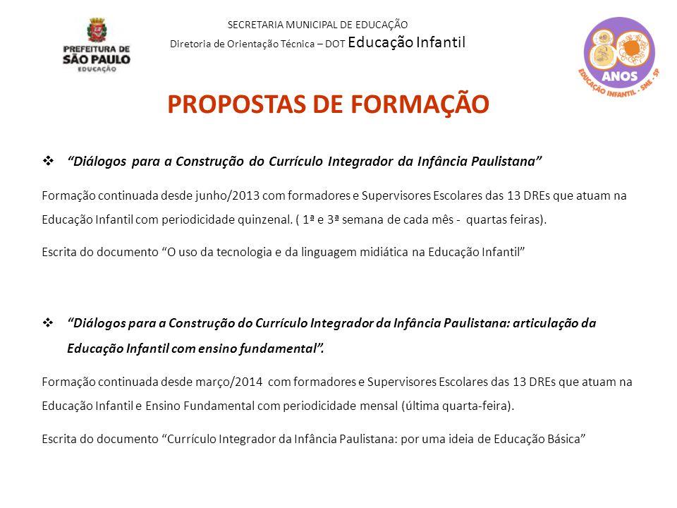 """PROPOSTAS DE FORMAÇÃO  """"Diálogos para a Construção do Currículo Integrador da Infância Paulistana"""" Formação continuada desde junho/2013 com formadore"""