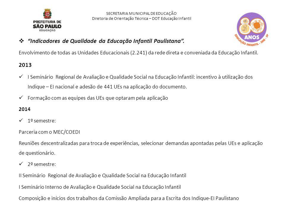 """SECRETARIA MUNICIPAL DE EDUCAÇÃO Diretoria de Orientação Técnica – DOT Educação Infantil  """"Indicadores de Qualidade da Educação Infantil Paulistana""""."""