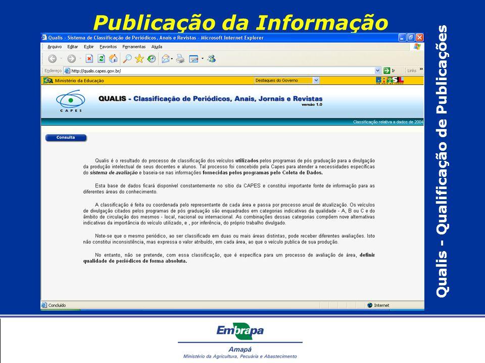 Publicação da Informação Qualis - Qualificação de Publicações