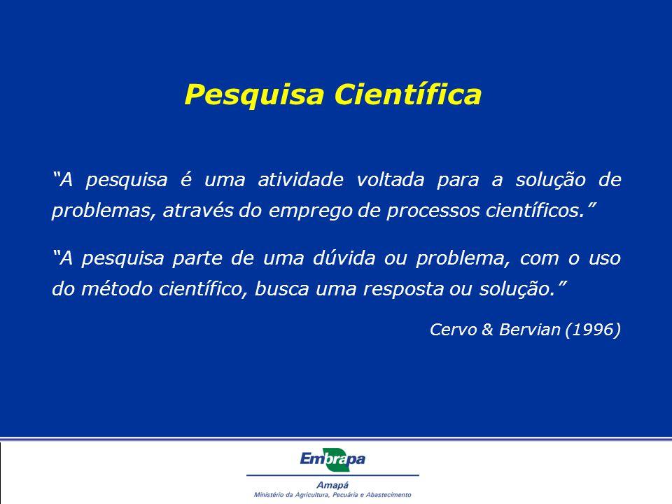 Pesquisa Científica A pesquisa é uma atividade voltada para a solução de problemas, através do emprego de processos científicos. A pesquisa parte de uma dúvida ou problema, com o uso do método científico, busca uma resposta ou solução. Cervo & Bervian (1996)