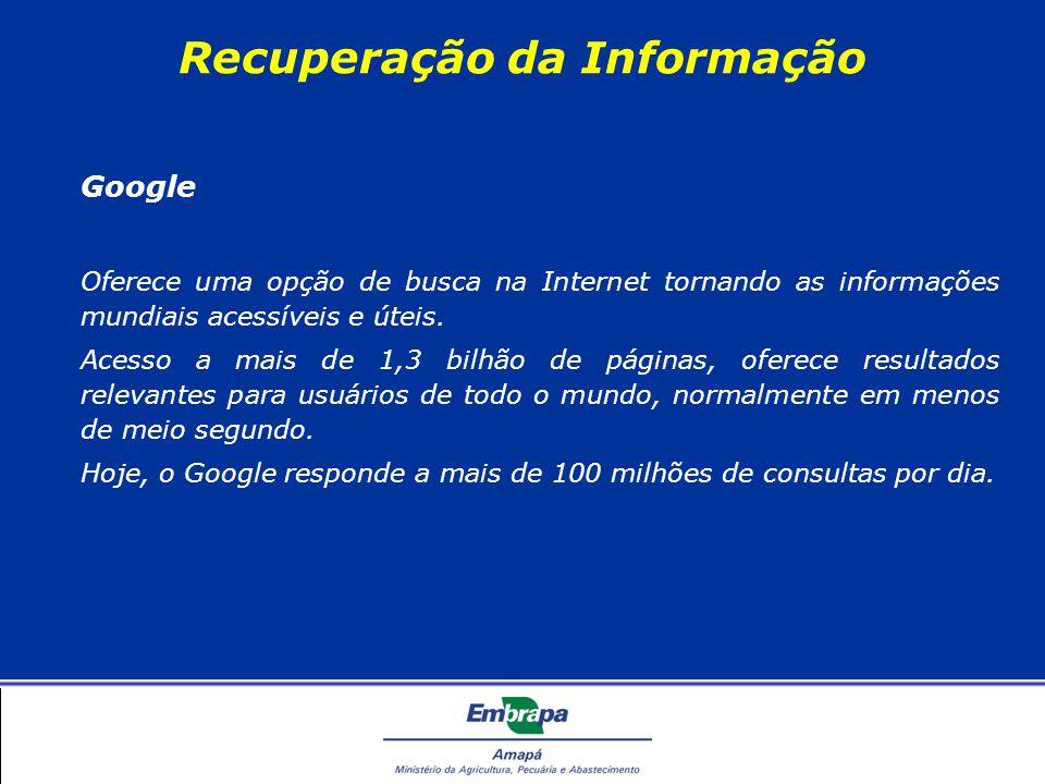 Recuperação da Informação Google Oferece uma opção de busca na Internet tornando as informações mundiais acessíveis e úteis.