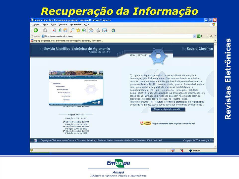 Recuperação da Informação Revistas Eletrônicas