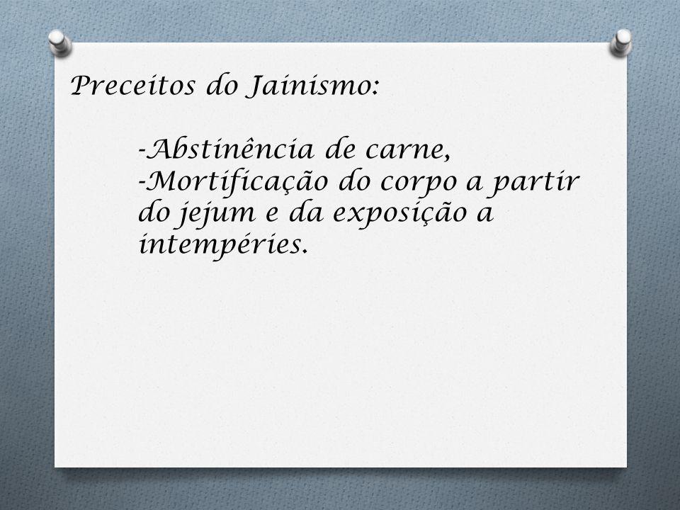 Preceitos do Jainismo: -Abstinência de carne, -Mortificação do corpo a partir do jejum e da exposição a intempéries.