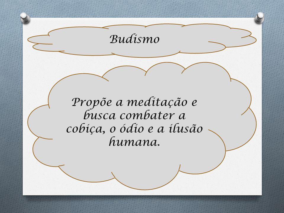 Budismo Propõe a meditação e busca combater a cobiça, o ódio e a ilusão humana.