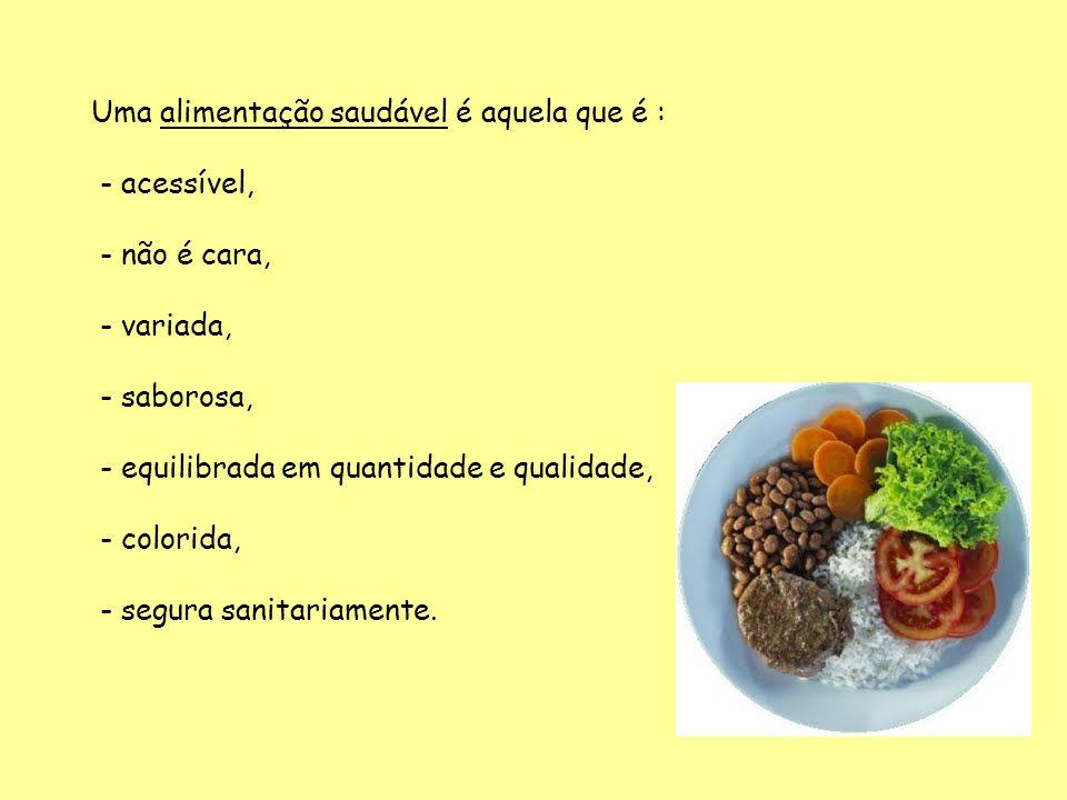 Uma alimentação saudável é aquela que é : - acessível, - não é cara, - variada, - saborosa, - equilibrada em quantidade e qualidade, - colorida, - seg