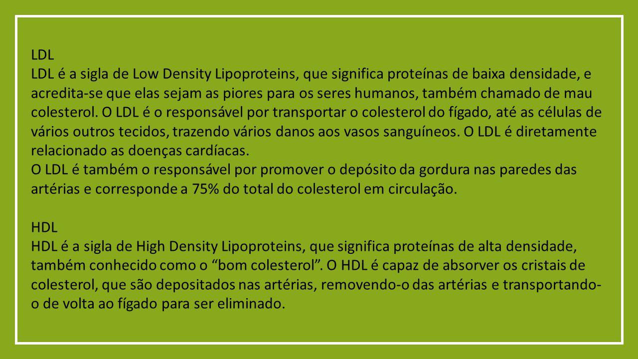 LDL LDL é a sigla de Low Density Lipoproteins, que significa proteínas de baixa densidade, e acredita-se que elas sejam as piores para os seres humanos, também chamado de mau colesterol.