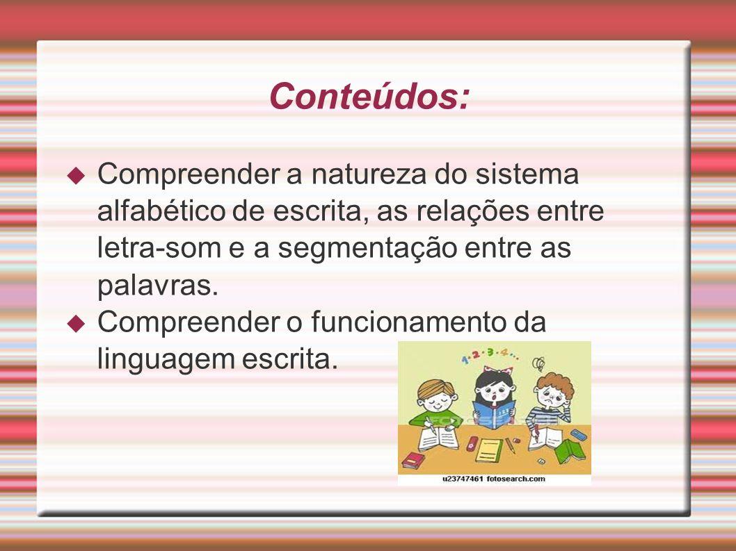 Conteúdos:  Compreender a natureza do sistema alfabético de escrita, as relações entre letra-som e a segmentação entre as palavras.