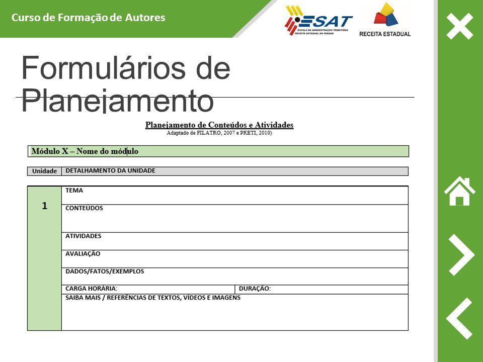 Formulários de Planejamento Curso de Formação de Autores