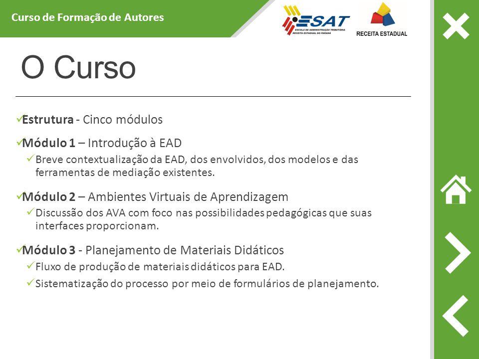 O Curso Estrutura - Cinco módulos Módulo 1 – Introdução à EAD Breve contextualização da EAD, dos envolvidos, dos modelos e das ferramentas de mediação existentes.