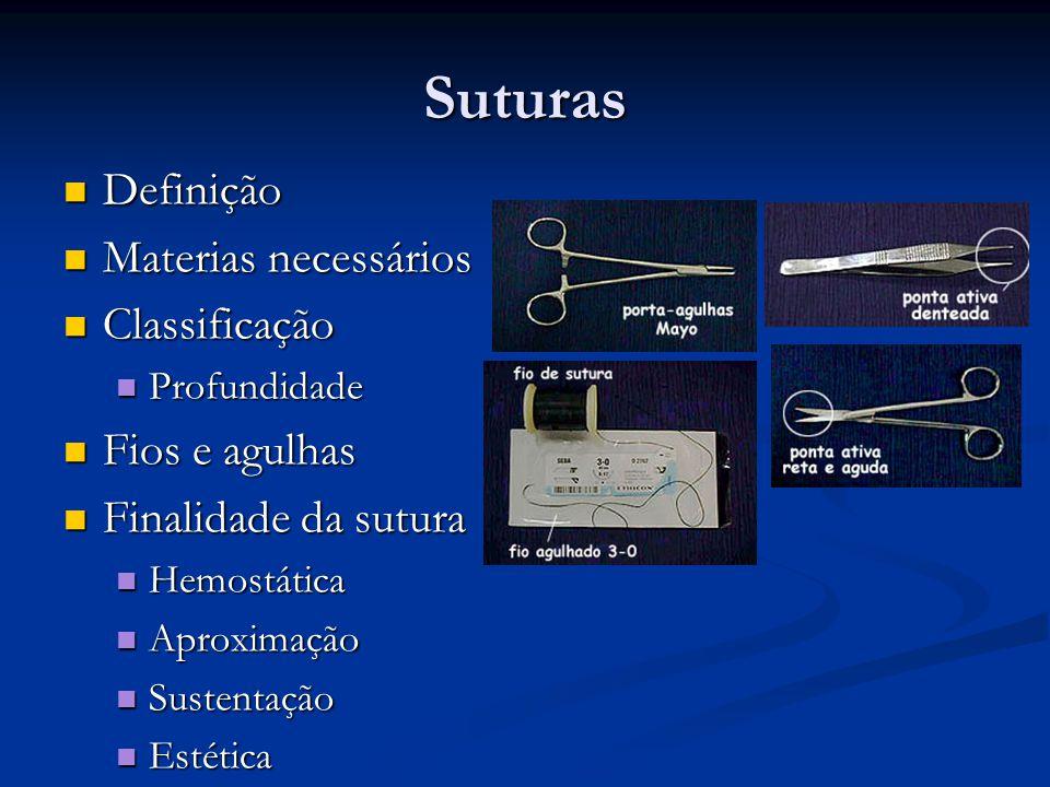 Suturas Manipulação e apresentação das bordas da ferida Manipulação e apresentação das bordas da ferida Colocação da agulha no porta-agulha Colocação da agulha no porta-agulha