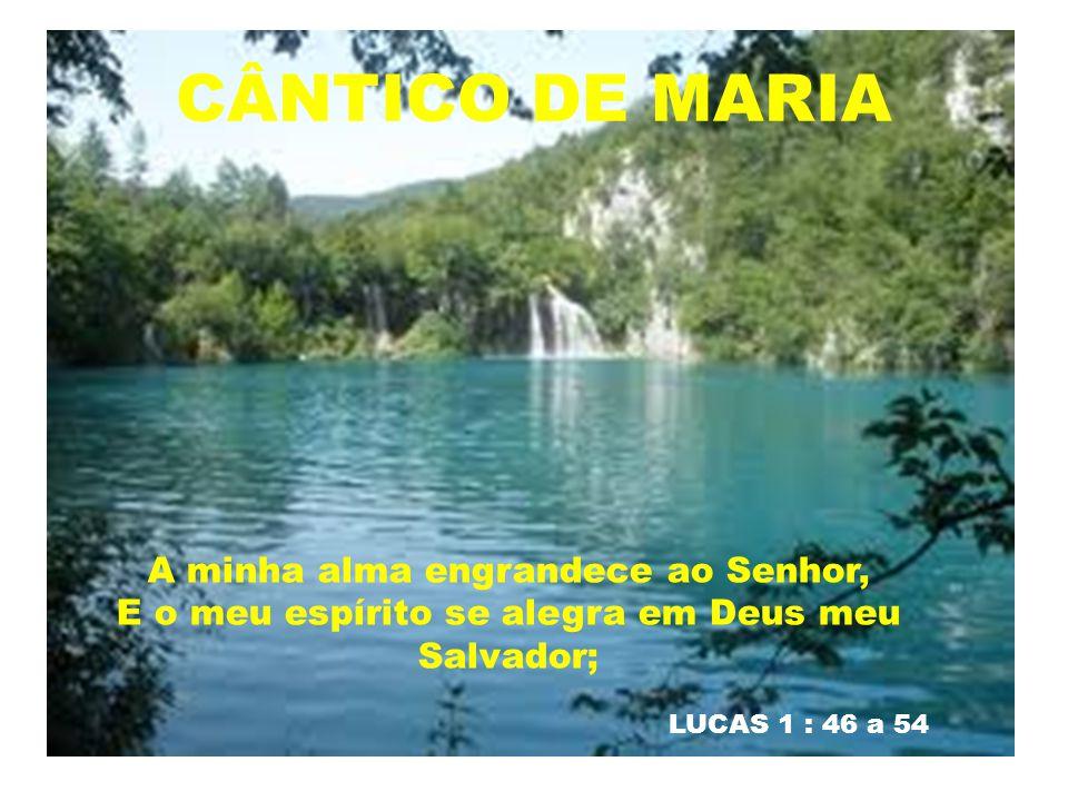 CÂNTICO DE MARIA LUCAS 1 : 46 a 54 A minha alma engrandece ao Senhor, E o meu espírito se alegra em Deus meu Salvador;